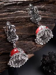 Buy Zobby <b>Red Silver</b> Plated <b>Goddess</b> Lakshmi Textured Jhumkas ...