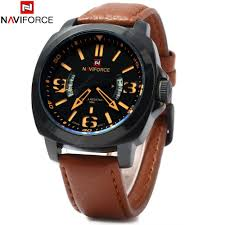 NAVIFORCE 9062 Men <b>Leather</b> Quartz Watch | Gearbest España
