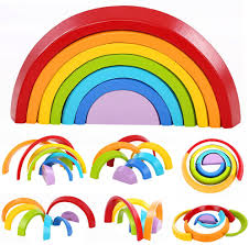 <b>12</b>-Piece Wooden <b>Rainbow</b> Building Stacking <b>Blocks</b> Baby Toddler ...