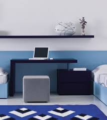 awesome home office with blue white wall decor simple blue desk and grey bench with blue white striped rug image blue white home office