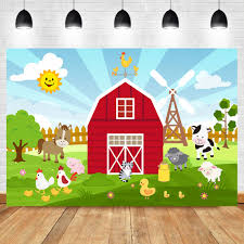 <b>Cartoon Farm Barnyard</b> Animal Theme Backdrop Red Little Farmer ...