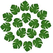 KUUQA <b>24 Pcs Artificial</b> Tropical <b>Leaves</b> Hawaiian Luau Party Decor...