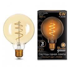 Светодиодная <b>лампа Gauss</b> LED <b>Filament</b> G95 <b>Flexible</b> E27 6W ...