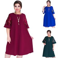 <b>2018 Splice Loose Lace</b> Summer Dresses Plus Size Women Knee ...