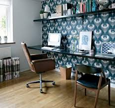 view in gallery cozy home office in bright blue and with ample space bright office room interior