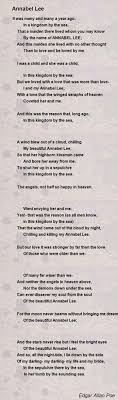 annabel lee poem by edgar allan poe poem hunter