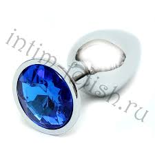<b>Серебряная анальная пробка</b> с темно синим камнем, S - Intim ...
