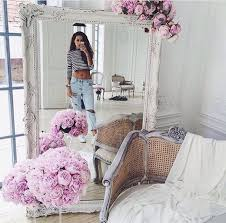 home accessory white mirror flowers tumblr home decor home furniture chic fabulous fashion clean pattern pink chic white home