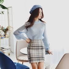 <b>Dabuwawa</b> Autumn Skirt 2018 <b>New Retro</b> Preppy Style High Waist ...