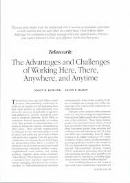 academic paper telework the advantages and challenges of working academic paper telework the advantages and challenges of working here there anywhere and anytime