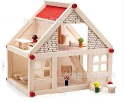 baby wooden assemble doll house huge wood villa with furniture and dolls for kids child brand baby wooden doll house