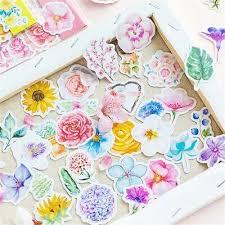 <b>45pcs</b>/<b>pack</b> Flower Stickers DIY Decor Diary Planner Scrapbooking ...