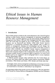 ethical issues in human resource management springer inside