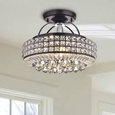 fixtures lovely media room lighting 4. light up your home with this jolie antique black drum shade crystal semi flush mount chandelier 4 is made of and iron fixtures lovely media room lighting