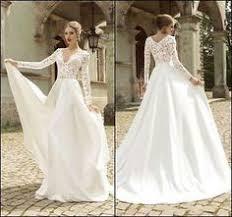 2015 ivory/white Cuello V Manga Larga Boda <b>Vestido De Novia</b> ...