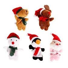 <b>5 pcs Animal Finger Puppets</b> w/ Christmas Hat, Finger Puppets ...