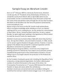 Sample essay on abraham lincoln