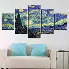 <b>HD Print 5 Piece</b> Wall Art Van Gogh Starry Night Home Decor ...