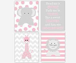 Baby Girl Nursery Art <b>Pink</b> Gray Grey <b>Elephant Giraffe Lion</b> Read Me ...