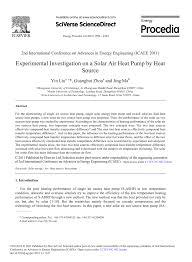 (PDF) Experimental Investigation on a <b>Solar Air Heat Pump</b> by Heat ...