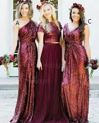 Shop one shoulder rose <b>gold sequined</b> sheath <b>long bridesmaid</b> ...
