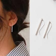 <b>925 Sterling Silver Manual</b> Long Line Earrings For Women Fashion ...