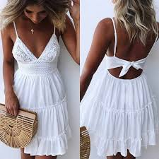 Summer <b>Women</b> Dress <b>Sexy Bow Backless</b> V neck Mini Beach ...