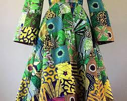 <b>African Wax Print</b> Patchwork Floor Length Coat Dress <b>100</b>% Cotton ...