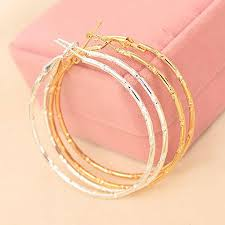 Silver Plated Big <b>Hoop Earring</b> For Women Large Smooth <b>Circle</b> ...