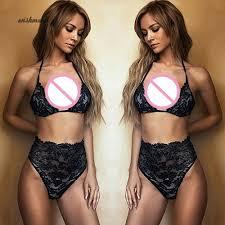 WISH Women's Summer <b>Beach</b> Bikini Set <b>Sexy</b> Halter Lace See ...