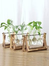 Buy 1 Pc <b>Hydroponic</b> Plant Wooden Frame Creative Retro <b>Vase</b> ...