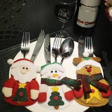 household dining table set christmas snowman knife: pcs christmas tableware bags dining restaurant table decoration knife fork holder santa claus christmas kitchen decor