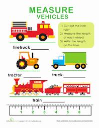 Length and Width: Measure Vehicles | Worksheet | Education.comKindergarten Measurement Worksheets: Length and Width: Measure Vehicles