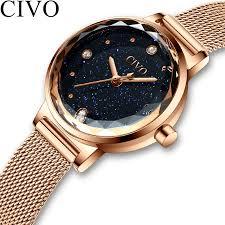 <b>CIVO Fashion Luxury</b> Watches <b>Women</b> Blue Face Quartz Watch ...