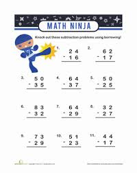 Ninja Subtraction with Borrowing | Worksheet | Education.comSecond Grade Subtraction Worksheets: Ninja Subtraction with Borrowing