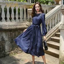 Senarai Harga <b>Voa 2017 Autumn</b> Navy Blue Long Sleeve Vintage ...