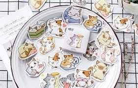 <b>45 Pcs</b> Cat Animal Stickers Set Pack Flakes <b>Cute</b> Decorative Sticker ...
