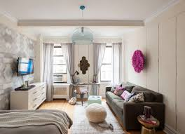 living room with bed: natural light brown wooden floor idea apartment living room