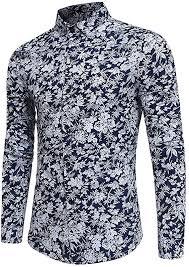 <b>Mens</b> Funky <b>Floral</b> Printed <b>Shirt</b> Long Sleeve Casual <b>Linen Shirt</b> ...