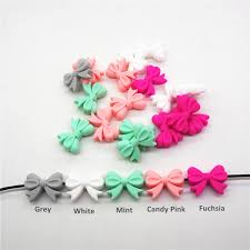 Chenkai <b>10pcs</b> BPA Free Silicone Bow Tie Teether Beads DIY Baby ...