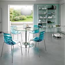 metal dining room chairs chrome: kitchen dining sets with rounded table with glass top and chrome metal leg and chairs made of transparent solid with chrome metal legs