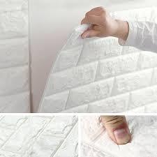 NK 1/5/<b>10 Pcs 3D</b> Self-Adhesive Wall Panels Faux <b>Foam</b> White Brick ...