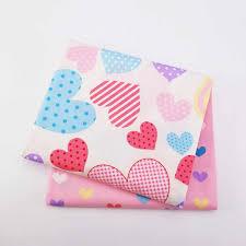 <b>2pcs</b>/<b>lot</b> 100% Cotton Fabric Heart Printed <b>Patchwork</b> Twill Cloth For ...