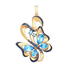 <b>Подвеска</b> «<b>Бабочка</b>» из золота с топазами и синими фианитами ...
