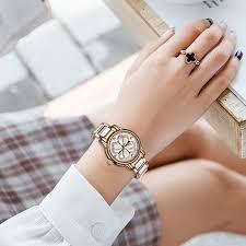 SUNKTA Luxury Ceramic Watch Ladies Waterproof Rose Gold ...