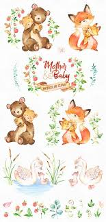 Mother & Baby. <b>Watercolor</b> animals clipart, <b>fox</b>, <b>bear</b>, swan, greeting ...