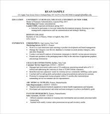 mba finanace department resume pdf free template resume it template