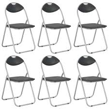 <b>Folding Dining Chairs 6</b> pcs Black Faux Leather Sale, Price & Reviews