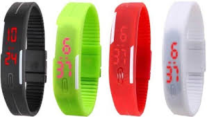 NS18 Silicone Led Magnet Band Combo of 4 Black, Green, Red And ...