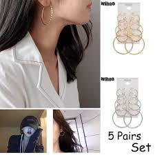 <b>5 Pairs</b> Set Hoop Earrings Spiral Big Circle <b>Woman Fashion Jewelry</b> ...